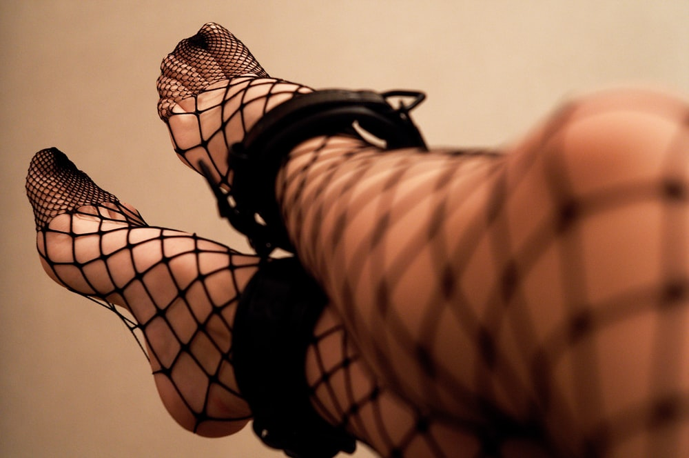 Tempting fishnet stockings